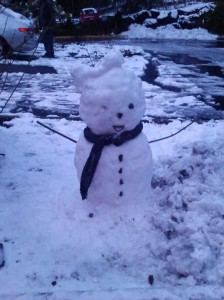 Snowgirl with scarf and bow