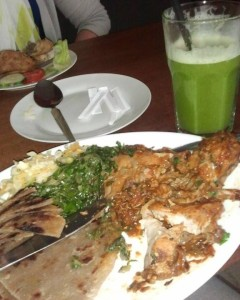 Local chicken dish with pineapple mint juice
