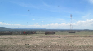 The old and the new: Maasai huts beside a cell tower.