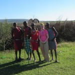 Posing with some of our Maasai warrior hosts