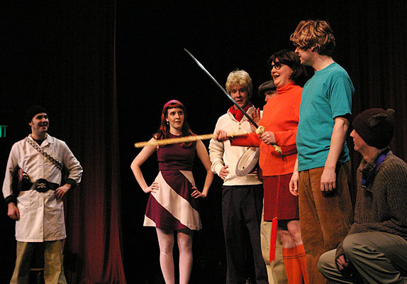 The Scooby Gang trying to figure out a mystery onstage at Wing-It Productions in 2005.