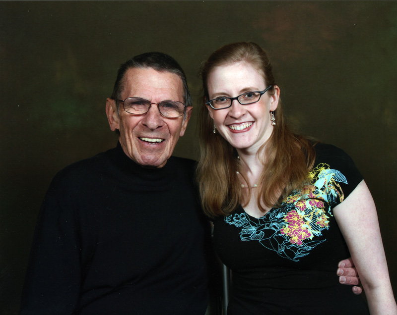 Picture taken in Calgary with Leonard Nimoy (at the Calgary Expo). In my excitement I had not remembered to get a photo with him after our panel, but he recognized me a few months later in Calgary.