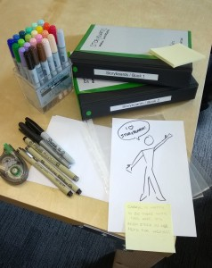 Storyboarding supplies: printer paper cut in half, Sharpie(s), Pigma graphic pens for detail work, correction tape, Copic markers, sheet protectors, binders, and Post-Its. Note: no pencils. It's faster that way.