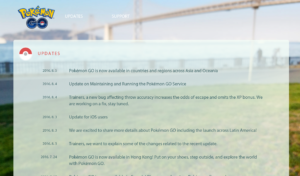 Recent Niantic blog posts for GO: note the long silent spell from July 24 - Aug 3 spanning the July 30 release